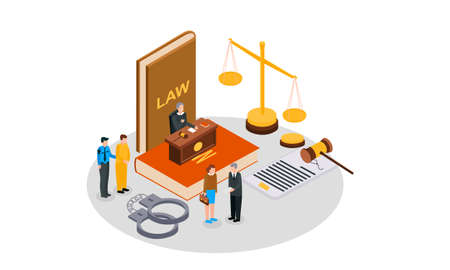 Law justice isometric composition with small people characters books of law gavel and golden weight vector illustration 向量圖像