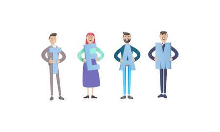 Business teamwork concept. 3d illustration. Cartoon characters.