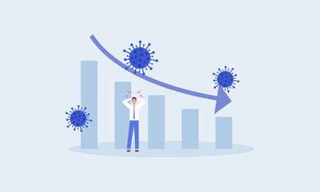 Coronavirus economics collapse, COVID-19 impact financial crisis, business to survive and economics stimulus  イラスト・ベクター素材