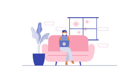 Flat illustration of character working on computer at home for prevention from corona virus