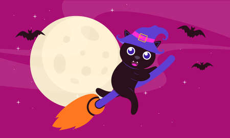 Hand drawn halloween black cat design
