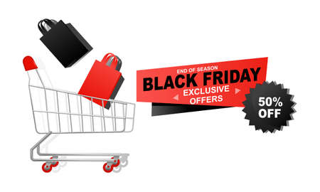Black friday offers sale with shopping cart banner with discount details background