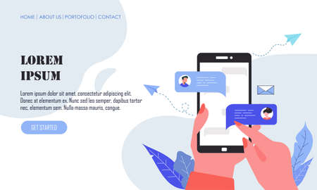 Flat design hand holding mobile phone with online messages illustration
