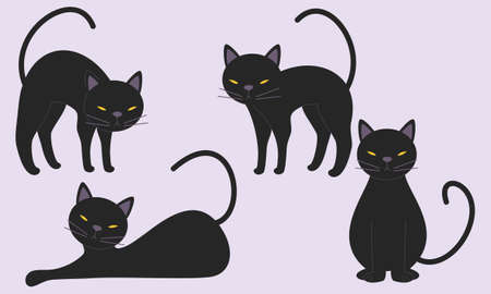 Hand drawn design halloween cat collection illustration