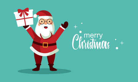 Christmas character with lettering illustration. Merry christmas