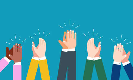 People hands clapping. Cheering hands, ovation and business success vector concept. Illustration of applause hand, clapping ovation Ilustración de vector