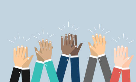 People hands clapping. Cheering hands, ovation and business success vector concept. Illustration of applause hand, clapping ovation