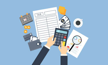 Tax payment design, accountant with report and a calculator checks money balance. Financial reports statement and documents  イラスト・ベクター素材