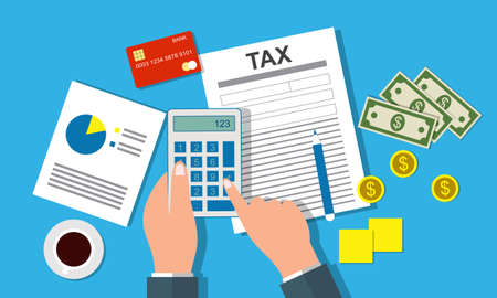 Tax payment design, accountant with report and a calculator checks money balance. Financial reports statement and documents Vettoriali