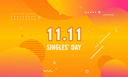 Abstract gradient singles day concept logo template