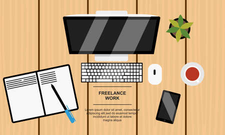 A business table top view. Work in a team. Objects lying on a wooden table. Banner. Vector flat illustration