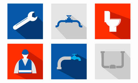 Set of plumbing sanitary engineering icons