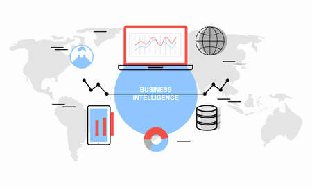 Business intelligence concept vector background illustration with various items and symbols