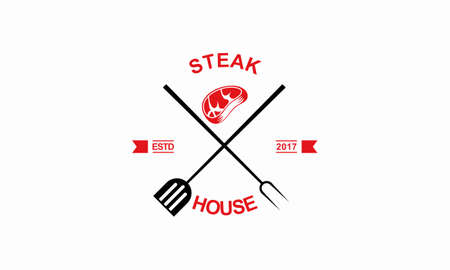 vector steak typography labels and grill emblems