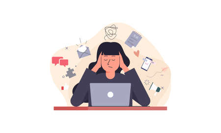 Information overload and multitasking problems concept illustration Vektorové ilustrace