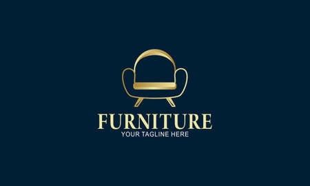Elegant furniture logo with golden couch
