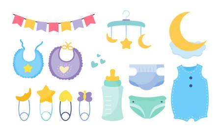 Set of baby shower elements logo