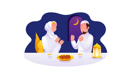 Flat Design Iftar Eating After Fasting feast party concept. Muslim family dinner on Ramadan Kareem