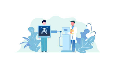 Radiologist concept illustration. Doctor examine x-ray image of human body with computed tomography, mri and ultrasound.