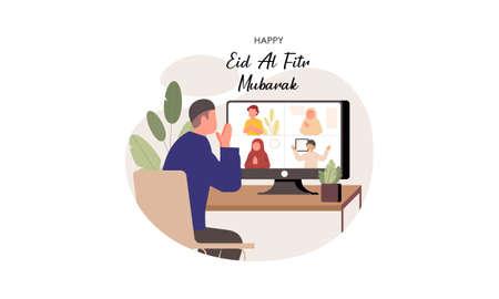 Islamic people greeting with teleconference in eid fitr ramadan illustration Ilustração Vetorial