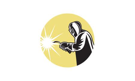 Welder worker welding torch retro. Logo vector