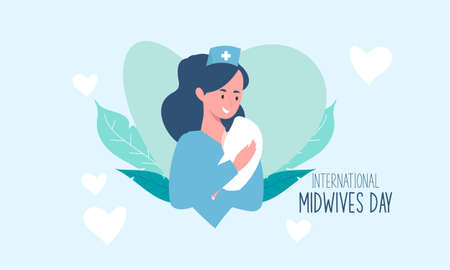Flat design international midwives day illustration