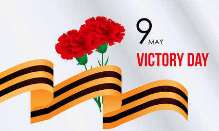 Russian victory day with carnation and ribbons