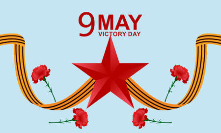 Russian victory day with carnation and ribbons Vecteurs