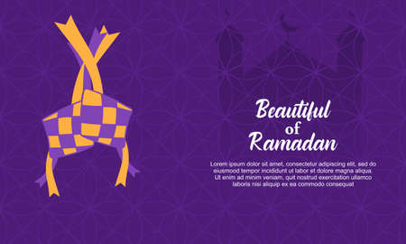 eid al fitr background with traditional ketupat composition