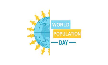 Flat world population day illustration Vektorové ilustrace