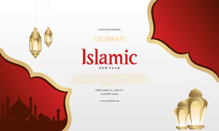Flat islamic new year horizontal poster template Ilustracja
