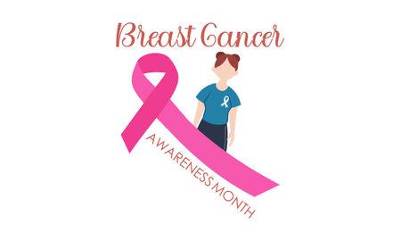 Breast cancer awareness month concept illustration Ilustracja