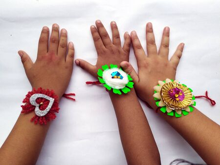 love rakhi in children hand on raksha bhandhan