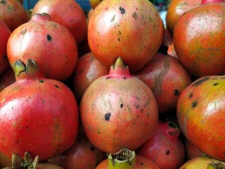 red fresh sweet cut pomegranate with seed  put on a shop Zdjęcie Seryjne