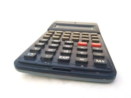 black scientific calculator isolated on white background