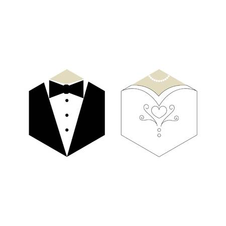 Groom and Bride Icon Vettoriali