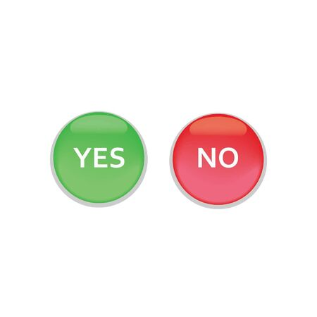 yes or no: Round Shiny Yes No Button Illustration