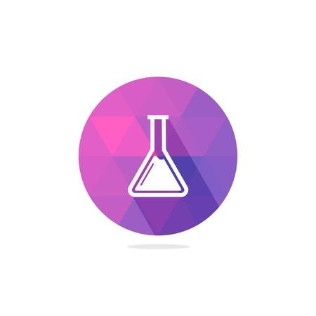 Frasco moderna Química o cubilete Icono con larga sombra Vectores