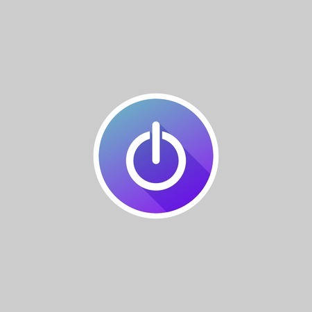 hibernate: Modern Power Button Icon with Long Shadow Illustration