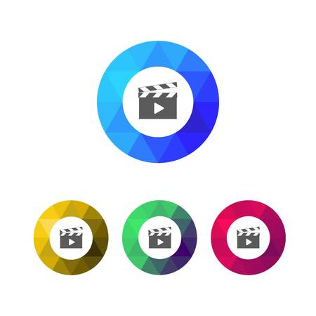 movie clapper: Modern Low Poly Ring Movie Clapper Icons