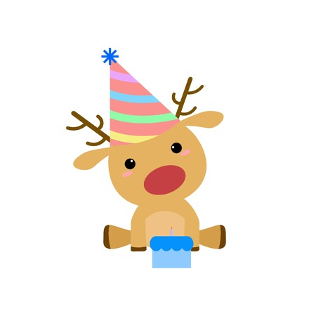 red nose: Simple Flat Cartoon Rudolf Red Nose Birthday Deer Illustration