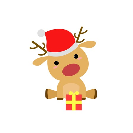 red nose: Simple Flat Cartoon Rudolf Red Nose Christmas Deer