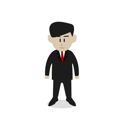 ceo: Young Boss or Employee or CEO standing flat Cartoon