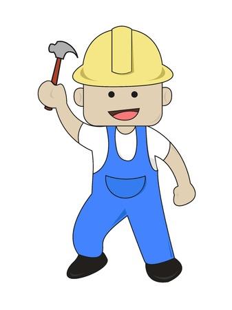 Worker Bring Hammer  Flat Cartoon Illustration