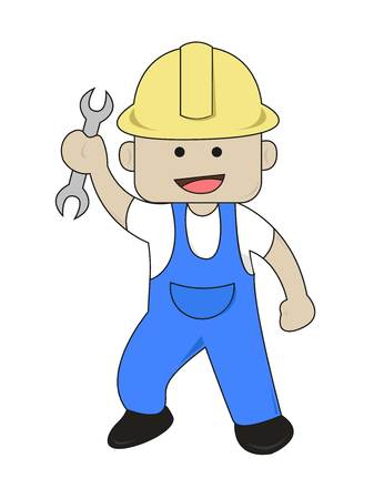 open end wrench: Worker Bring Open End Wrench Flat Cartoon Illustration Illustration