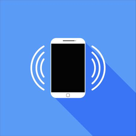 vibrate: Flat Vibrate or Ringing Smart Phone Icon with Long Shadow
