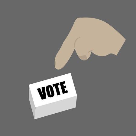 el mundo en tus manos: Mano Botón del voto Prensado Ilustración