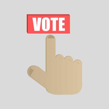 el mundo en tus manos: Prensa de la mano botón Votar Ilustración