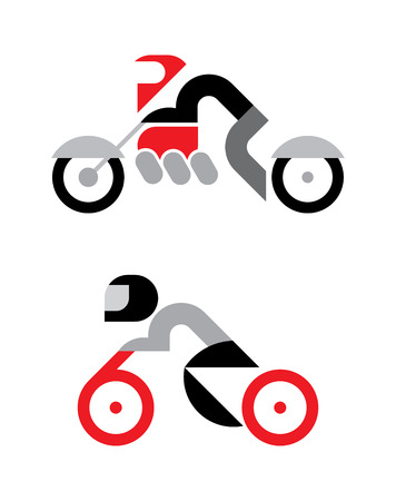 extremal: Vector motorcyclist icons isolated on a white backdrop. Can be used as logo.