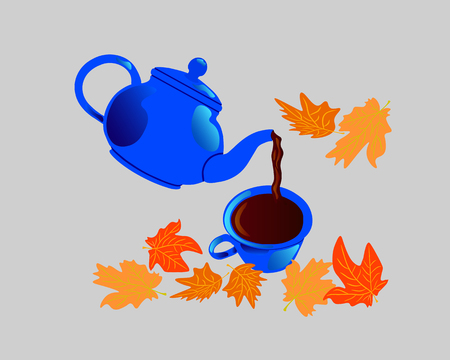 From the blue kettle, tea is poured into a cup. Yellow fallen maple leaves are nearby.